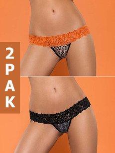 Lacea stringi DWUPAK - panterka: pomarańczowe i czarne - uwolnij swoją dzikość