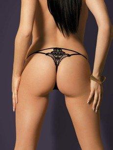 Luiza stringi czarne - z efektownym wzorem z tyłu