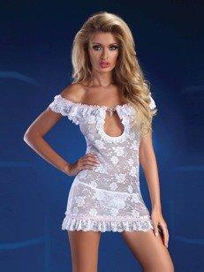 Mija White koszulka i stringi - biała dla zalotnej kusicielki