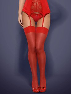 S800 pończochy czerwone - klasyczne pończochy uwodzicielki
