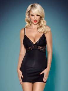 810-CHE koszula i stringi – czarna – podkreśla kobiece kształty Obsessive