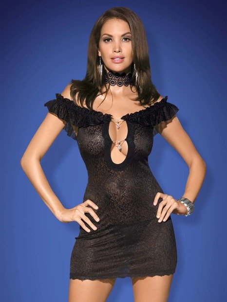 Diamond koszulka i stringi czarna - z ponętnym dekoltem WYPRZEDAŻ Obsessive